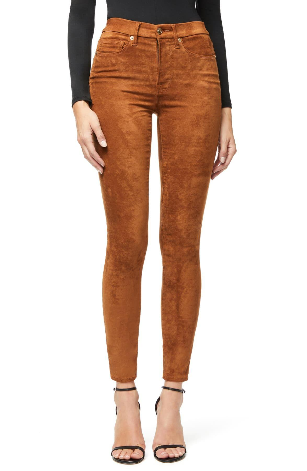 good waist faux suede pants in tobacco01