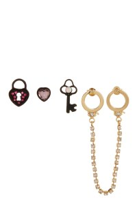 Betsey johnson Handcuff Stud & Double Hole Stud Earrings