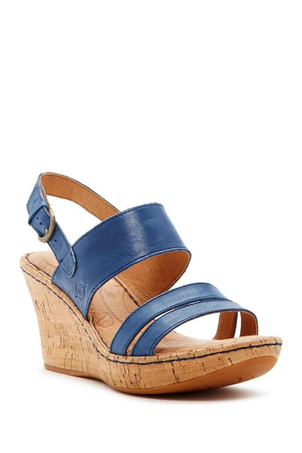 Born Amabel Wedge Sandal In Blue Lyst