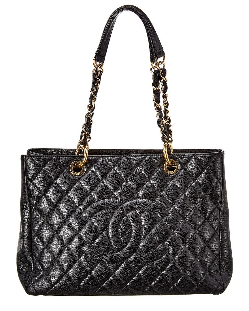 Chanel Black Quilted Caviar Leather Grand Shopping Tote - Lyst