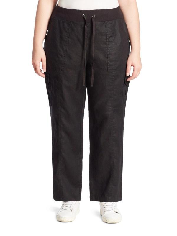 Eileen Fisher Organic Linen Cargo Pants In Black Lyst