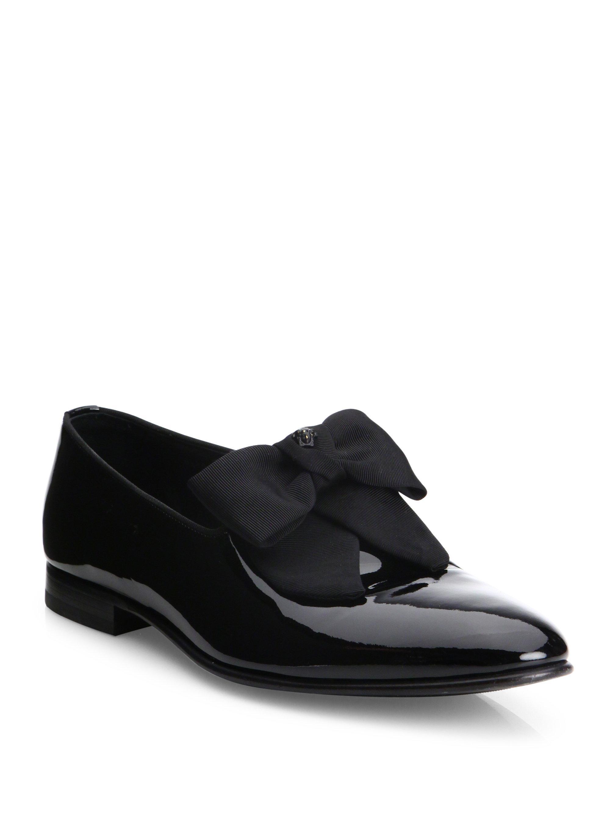 Lyst  Versace Bow Trimmed Dress Shoe in Black for Men