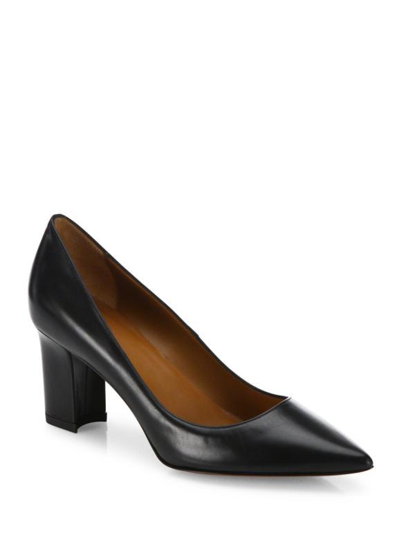 Aquatalia Michaela Point Toe Leather Block-heel Pumps In Black Lyst