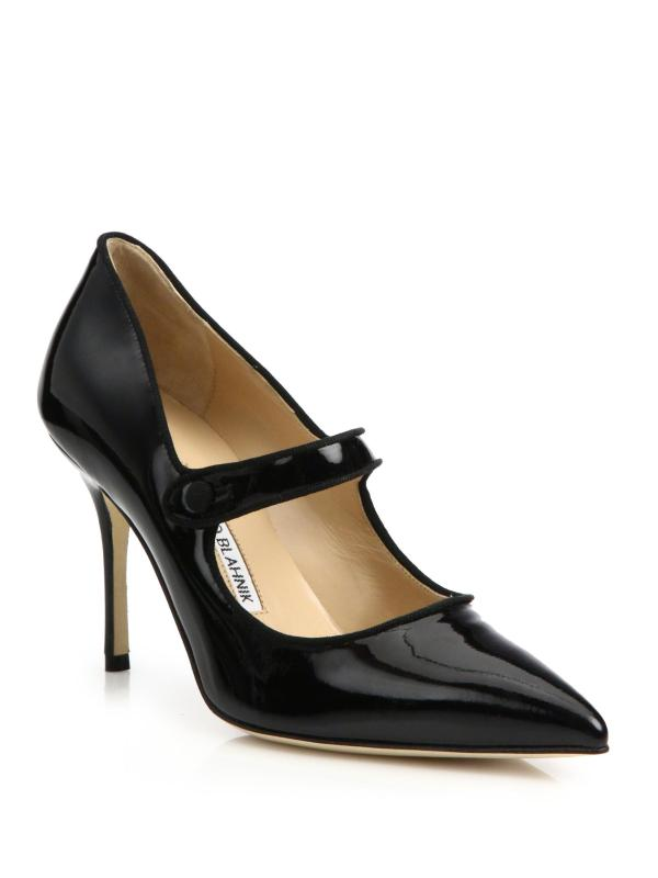 Manolo Blahnik Campari Patent Leather Mary Jane Pumps In