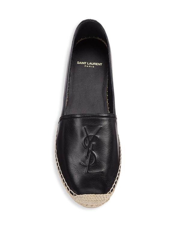 Lyst - Saint Laurent Ysl Logo Leather Espadrilles In Black