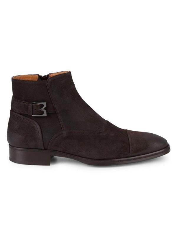 Bruno Magli Acadia Stacked Heel Suede Chelsea Boots In Dark Brown Men - Lyst