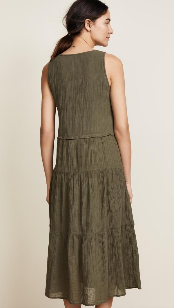 Lyst - Three Dots Cotton Gauze Tiered Dress In Green