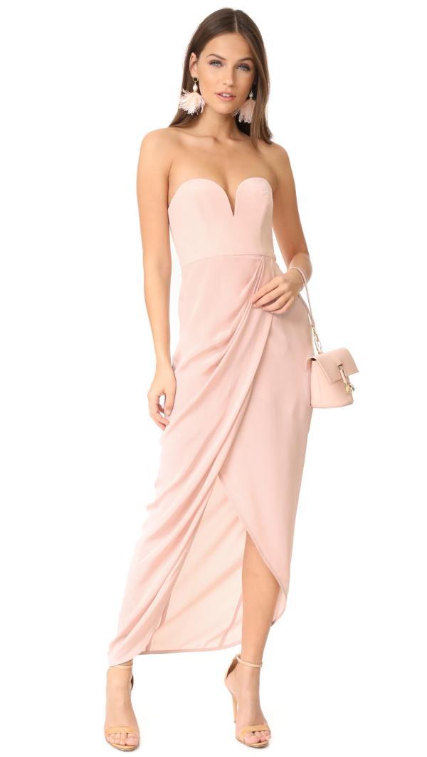 Zimmermann Silk Strapless Drape Maxi Dress In Pink - Lyst