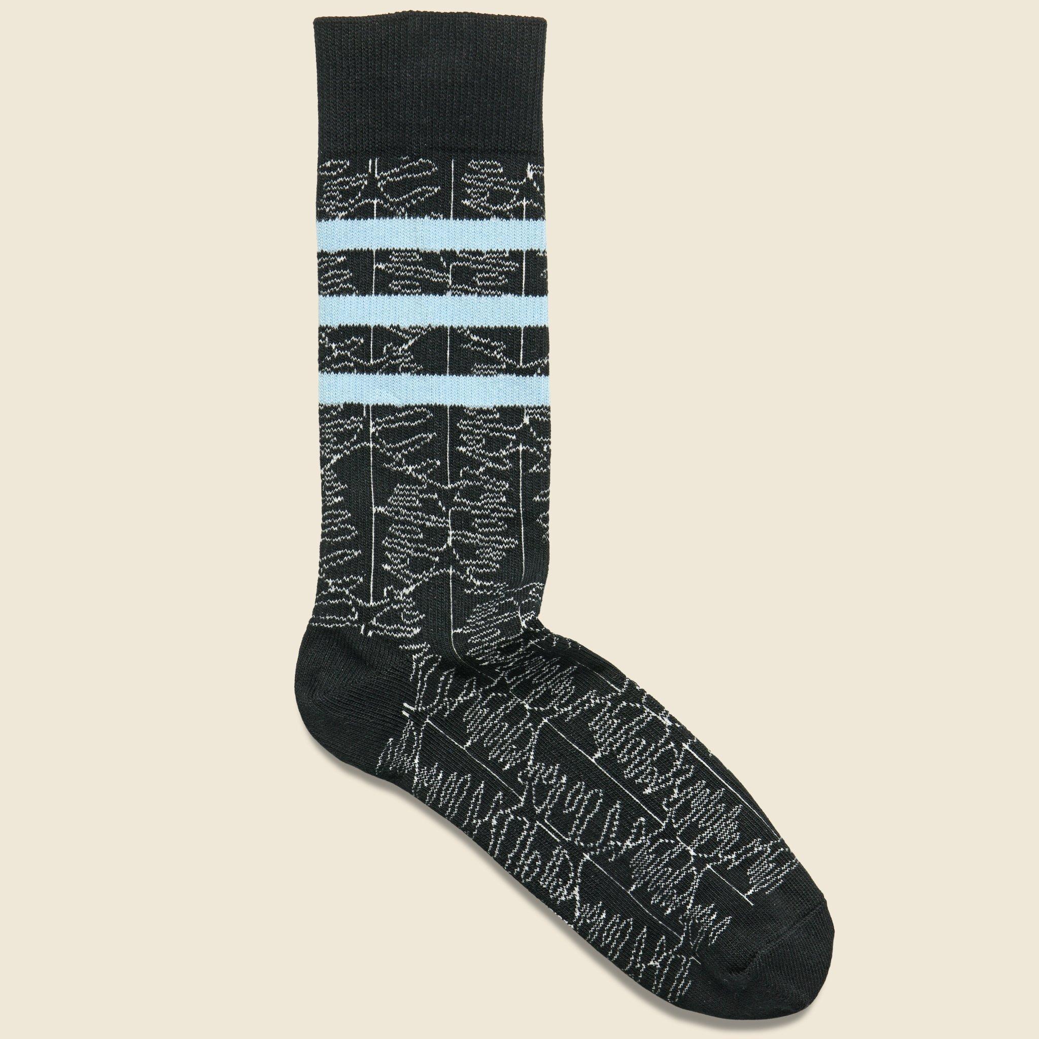 Richer Poorer Cotton Dylan Crew Sock - Black/blue for Men - Lyst