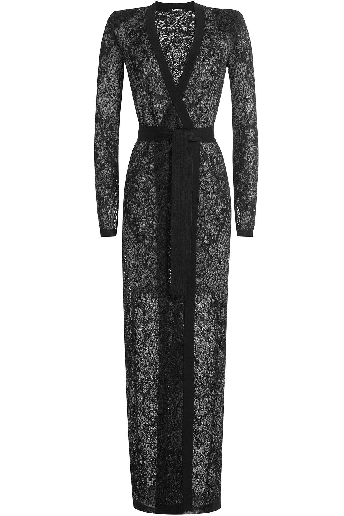 Balmain Floor Length Knit Cardigan  Black in Black  Lyst