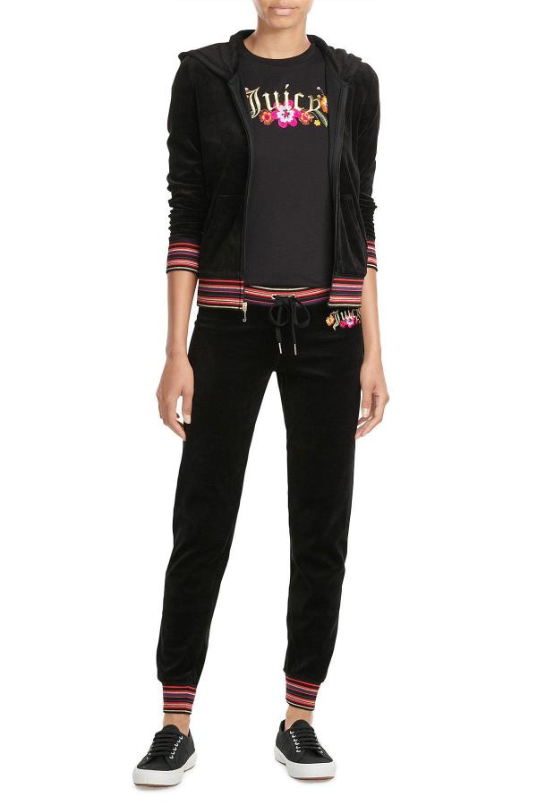 Juicy Couture Embroidered Velour Pants In Black - Lyst