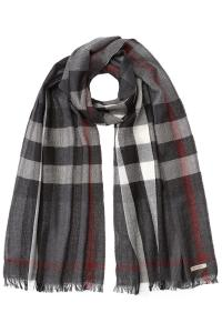 Burberry Wool-cashmere Check Print Scarf in Gray for Men ...