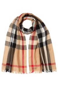 Burberry Wool-cashmere Check Print Scarf - Camel in Beige ...