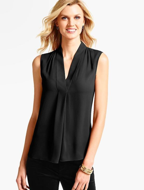 Lyst - Talbots Faux Wrap -neck Blouse In Black
