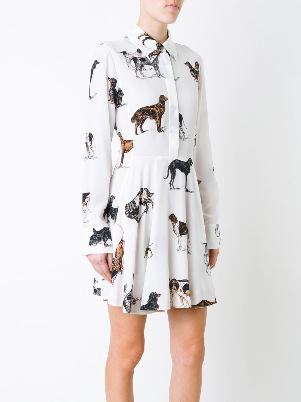 Stella Mccartney Dog Print Shirt Dress in White