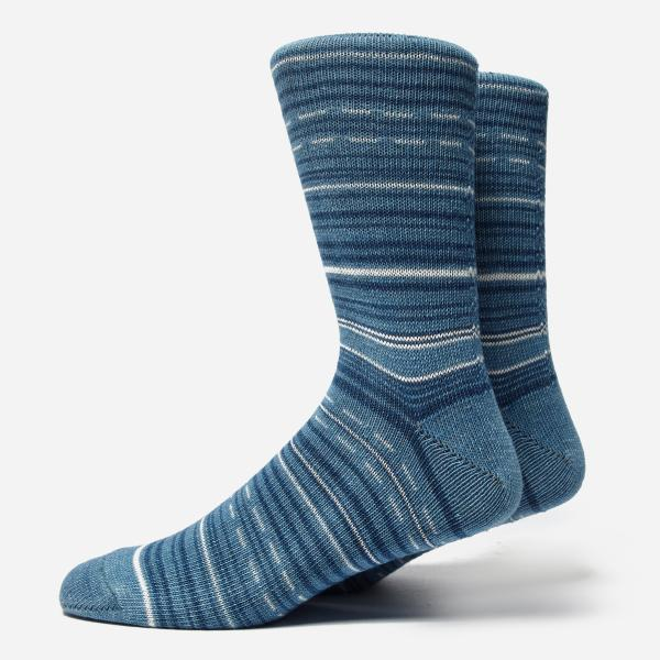 Anonymous Ism Indigo African Stripe Socks In Blue Men