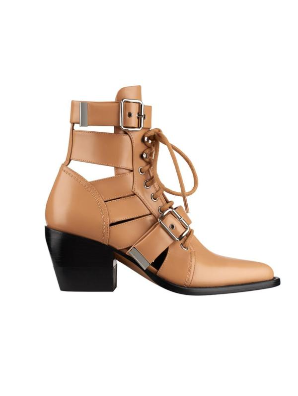 Chlo Rylee Dust Cutout Leather Ankle Boots In Brown - Lyst