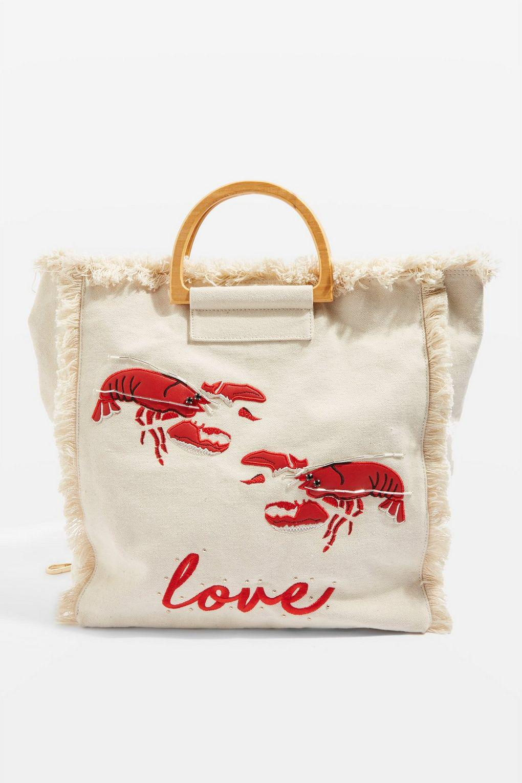 TOPSHOP Bobby Lobster Canvas Shopper Bag in Natural - Lyst