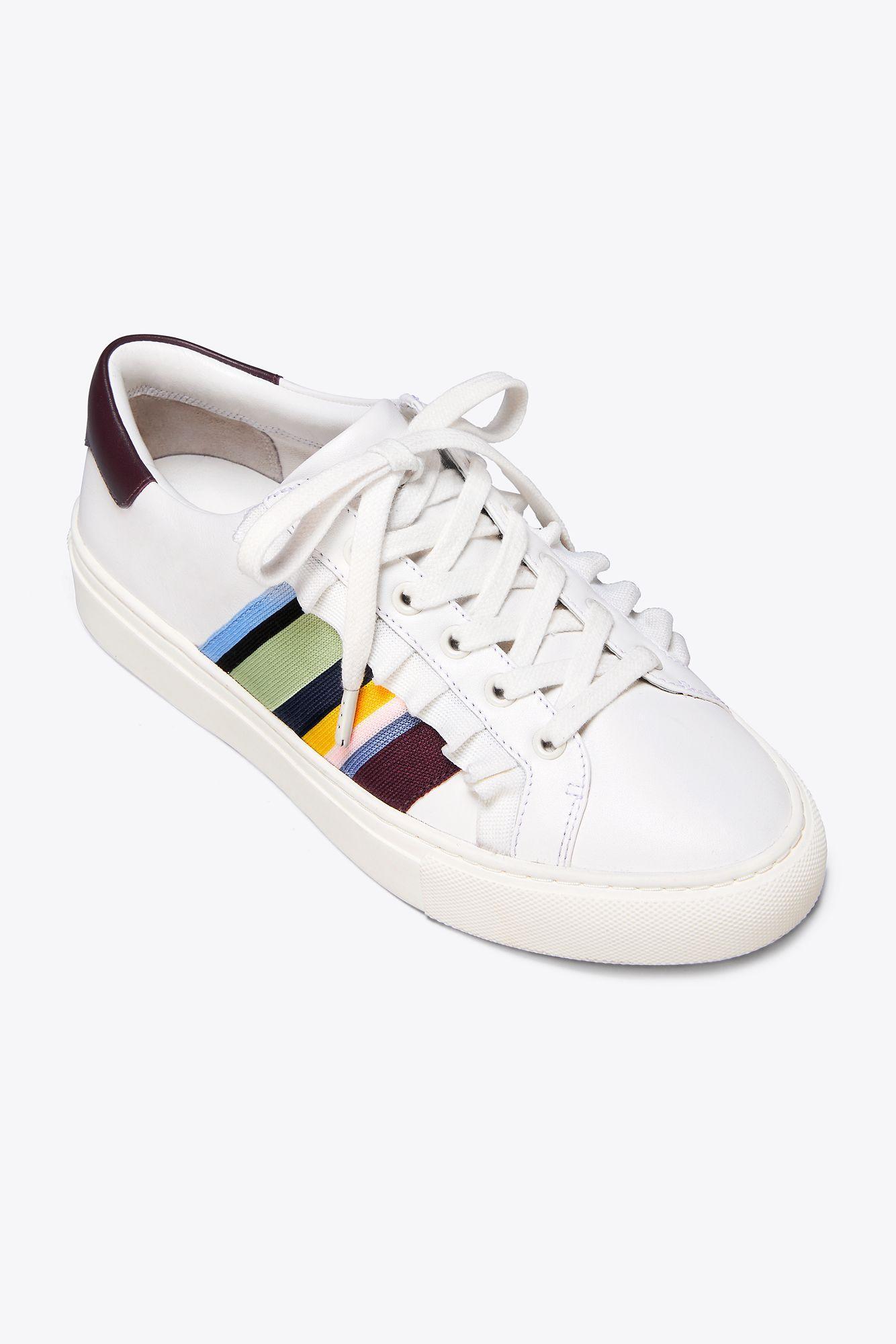 Tory Sport Suede Ruffle Sneaker in White - Lyst
