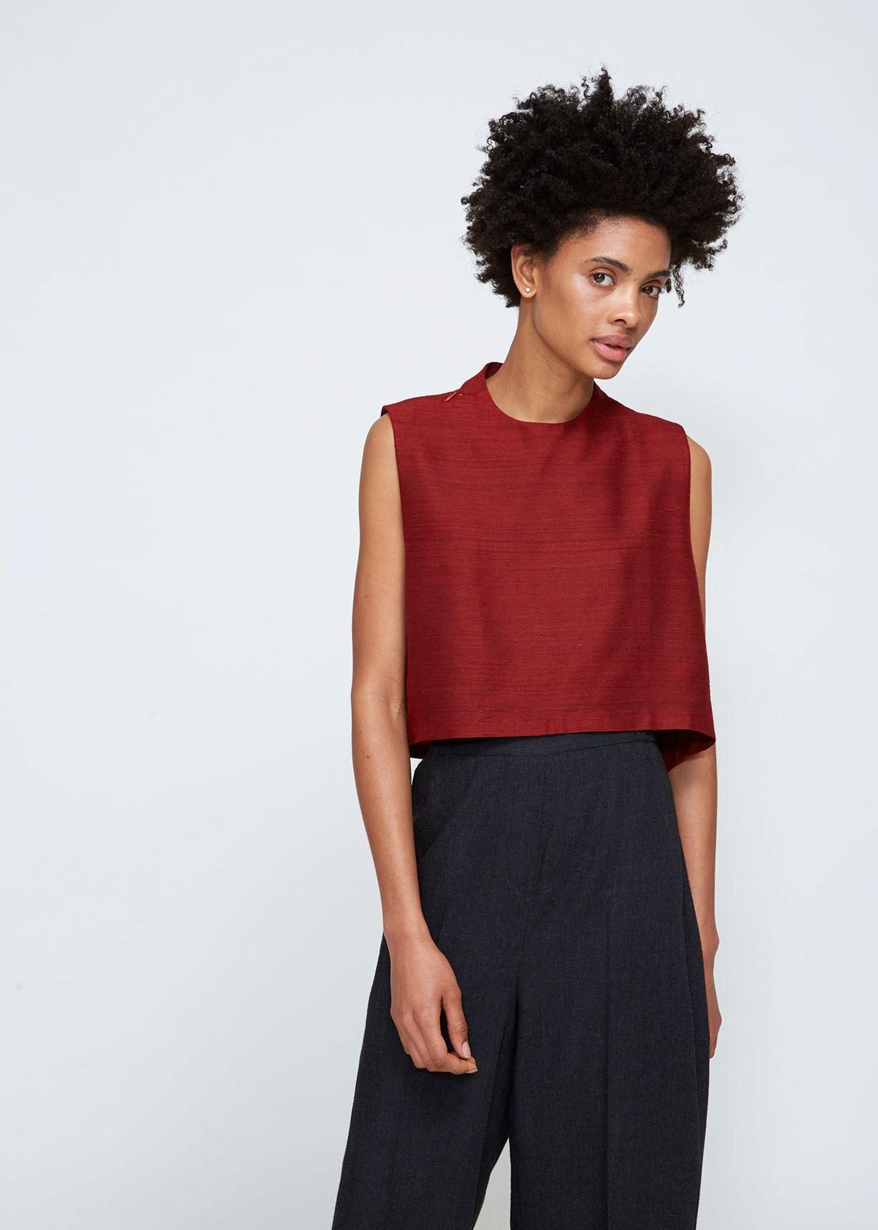 Kaarem Wind Chime Silk Raised Collar Top In Red Lyst