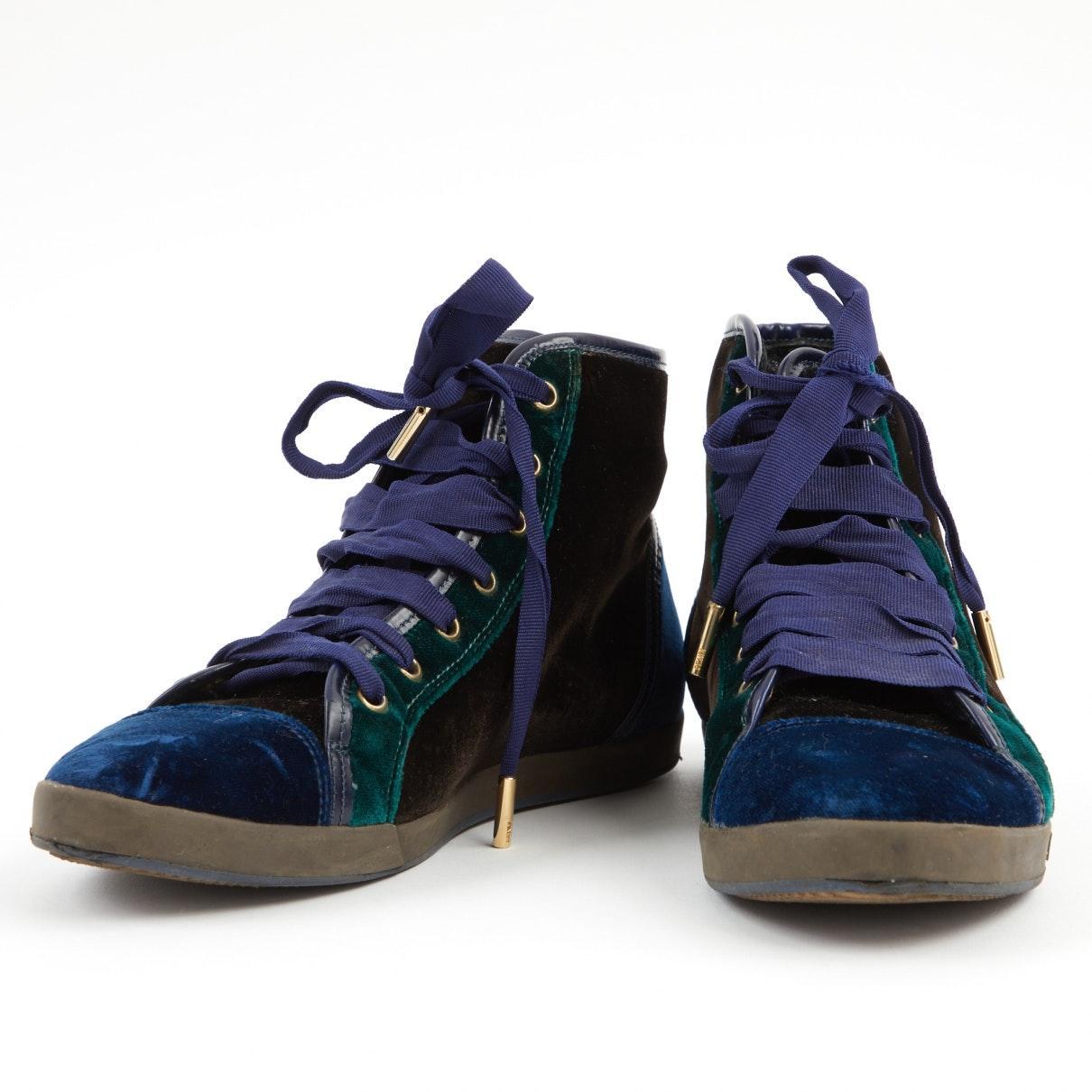 Fendi Velvet Blue Cloth Trainers - Lyst