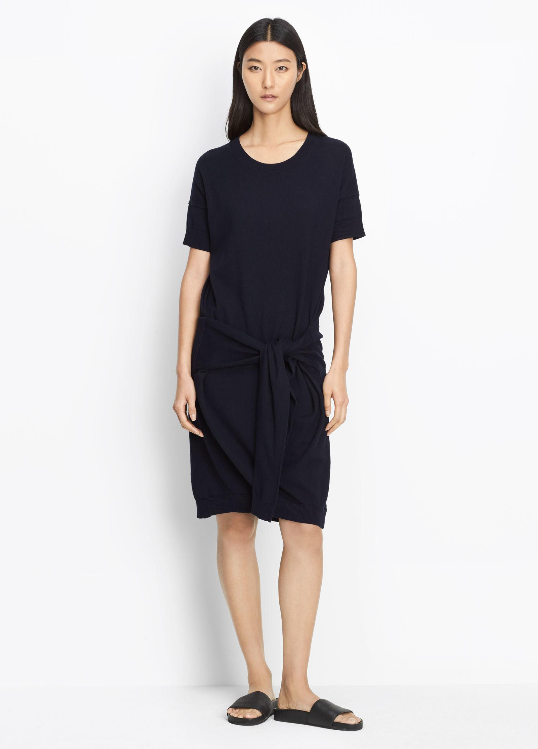 Vince Cotton Knit Tie Sleeve Dress in Blue