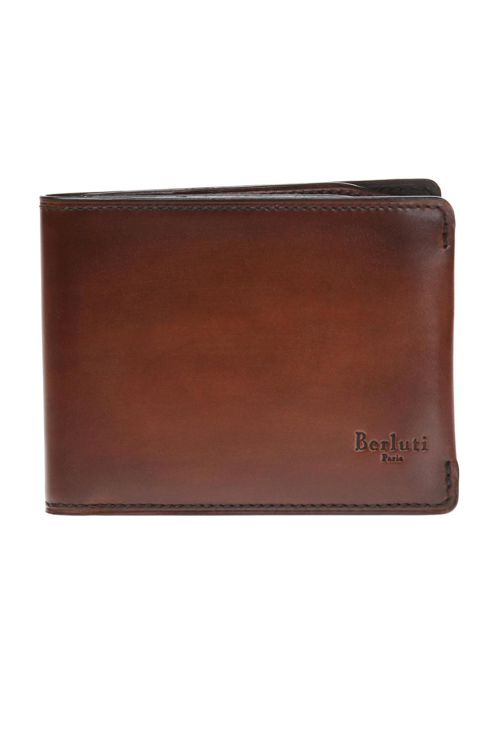 Berluti Leather Bi-fold Wallet With Logo in Brown for Men - Lyst