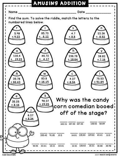 Halloween Math Riddles: Decimals-5th Grade by Rebecca's
