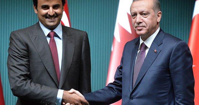 رجب طيب أردوغان مع أمير قطر تميم بن حمد آل ثاني
