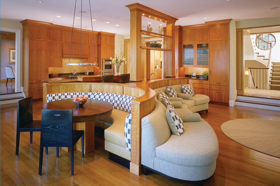 ThreeSided Banquette Anchors a Kitchen Breakfast Area