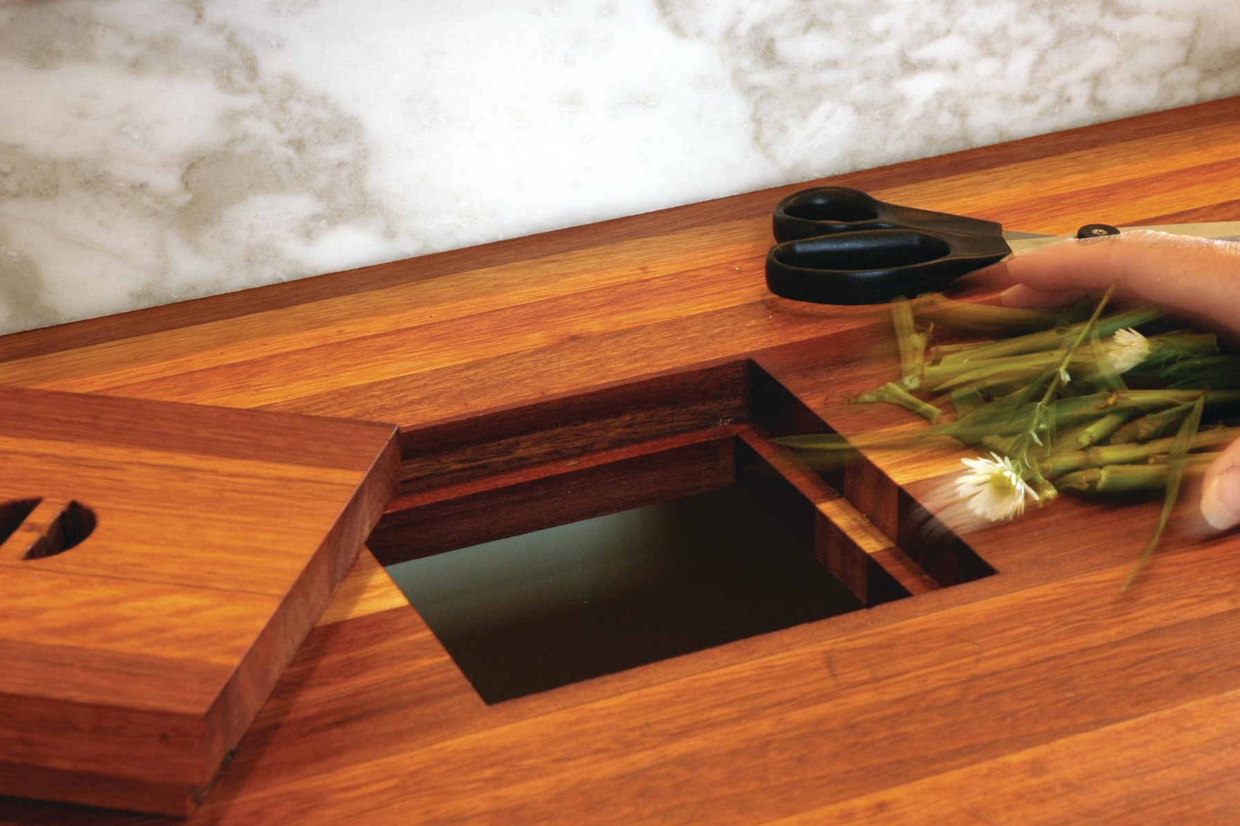 Trash Stash Two Clever Solutions for Kitchen Garbage  Remodeling  Countertops Detail
