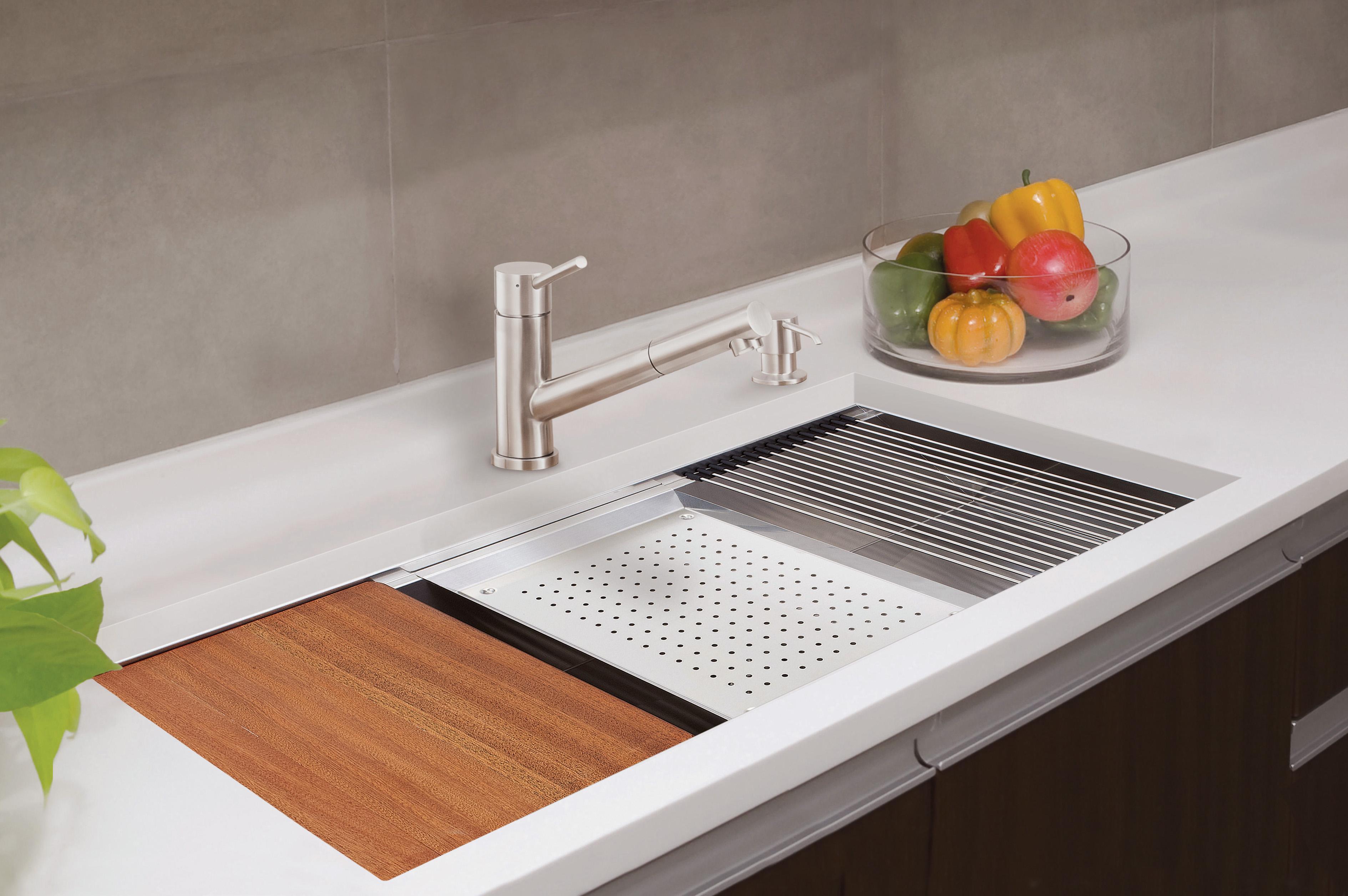kitchen island with prep sink kohler sinks home depot lenova ledge brings sleek style functionality
