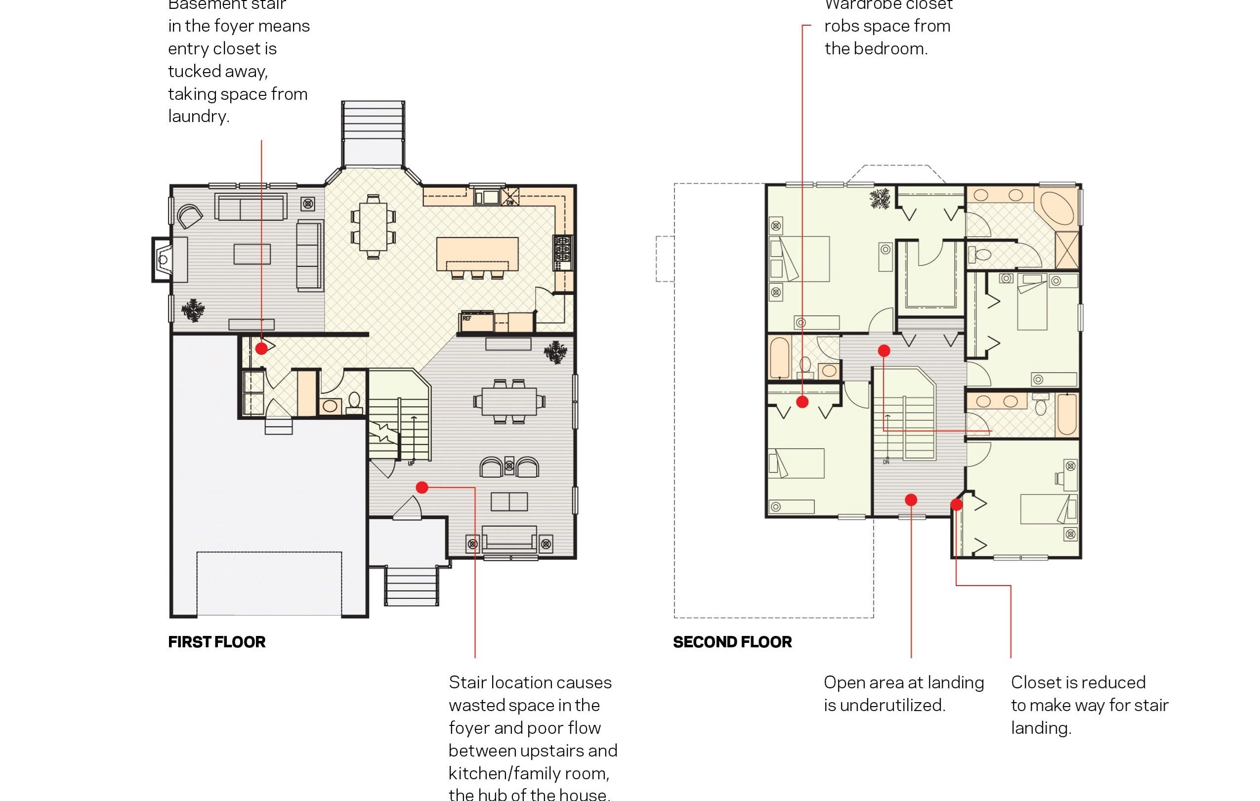 Move The Staircase For Better Circulation And Storage Builder | Floor Opening For Basement Stairs | L Shaped | Foyer | Both Side | Interior | 8 Foot Ceiling