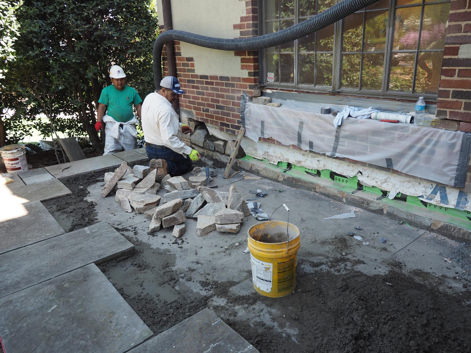 repairing stone patios over living
