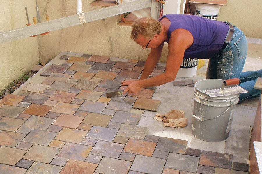 prepping for outdoor patio tile
