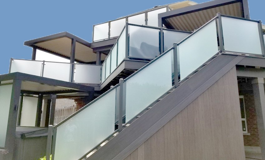 Glass Act Professional Deck Builder | Frosted Glass Stair Panels | Smoked | Toughened | Deck | Balcony | Contemporary