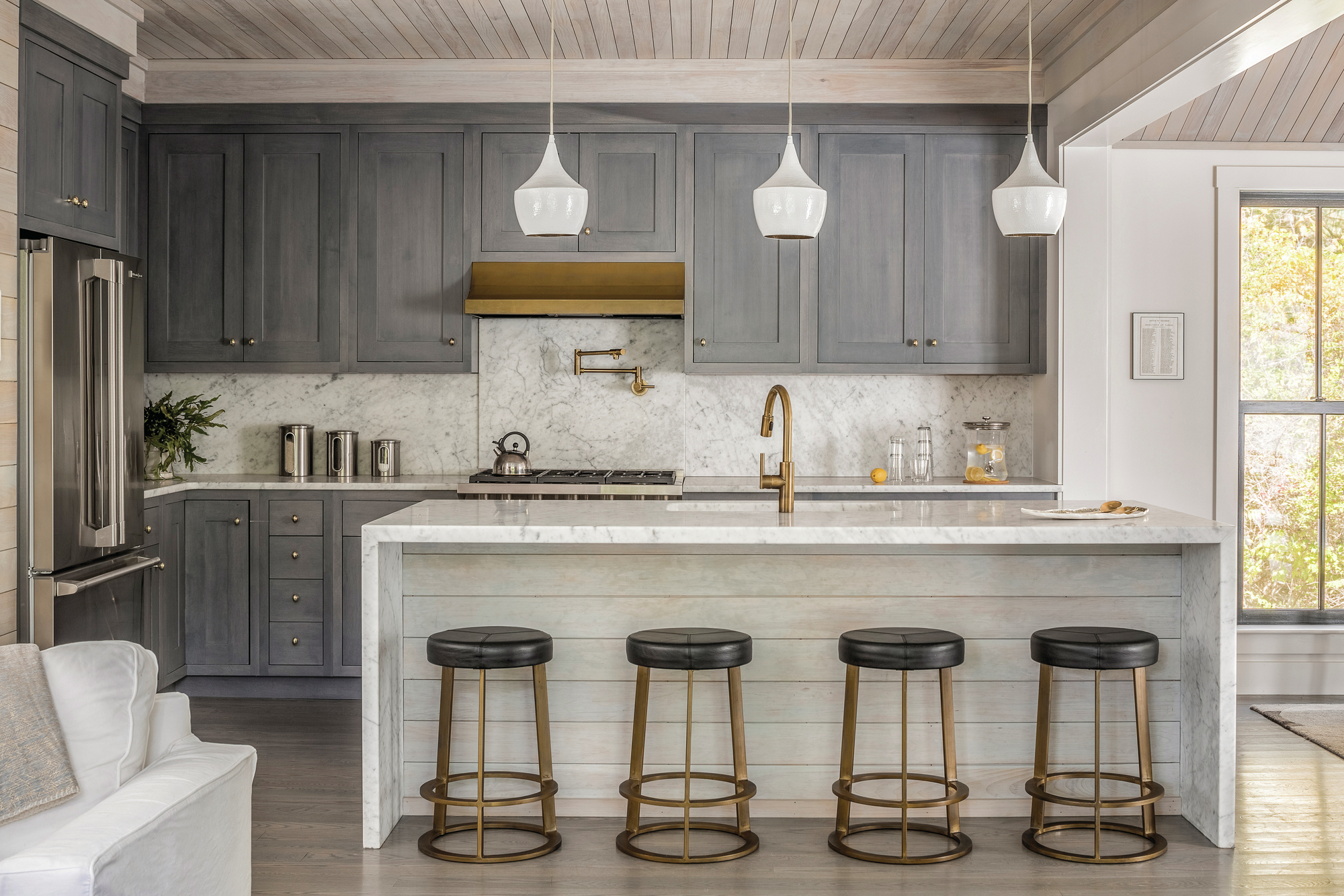 Blue and Brass Details Soften This Cozy Kitchen  Custom
