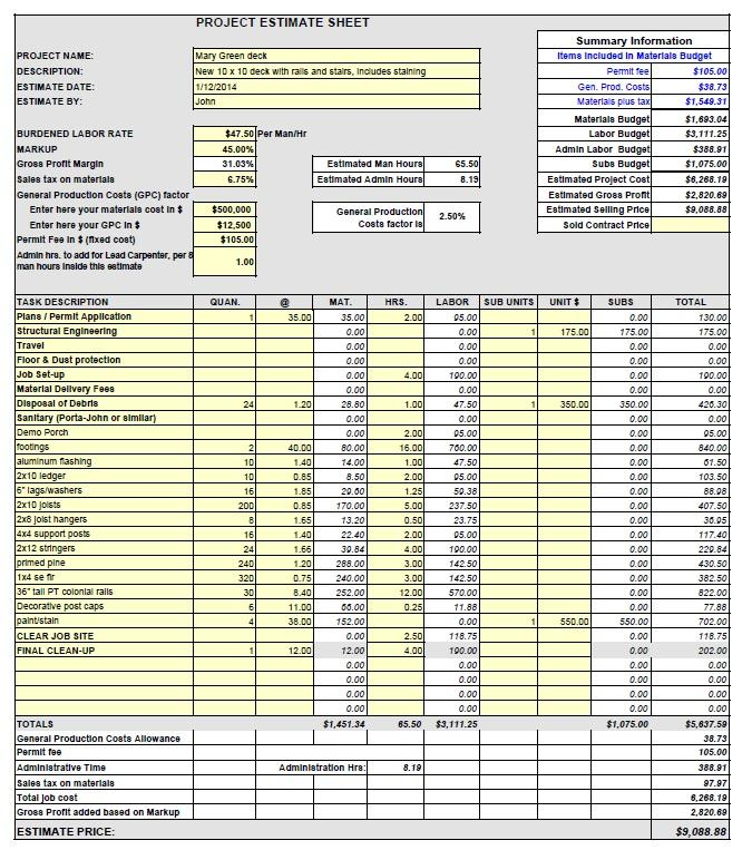 bid sheets for contractors - Fast.lunchrock.co