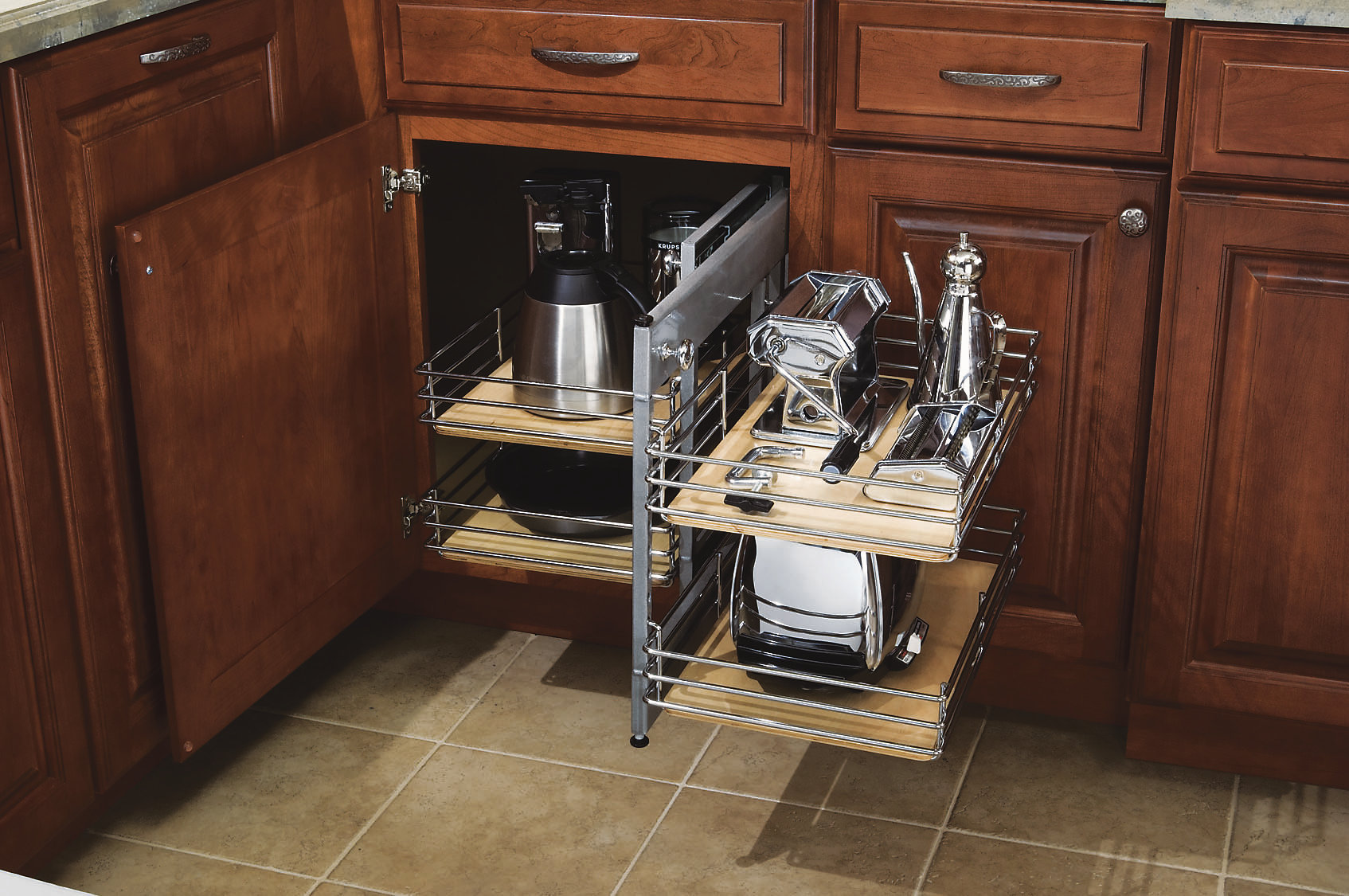 kitchen base cabinet pull outs unique faucets for kitchens diamond cabinetry corner out remodeling