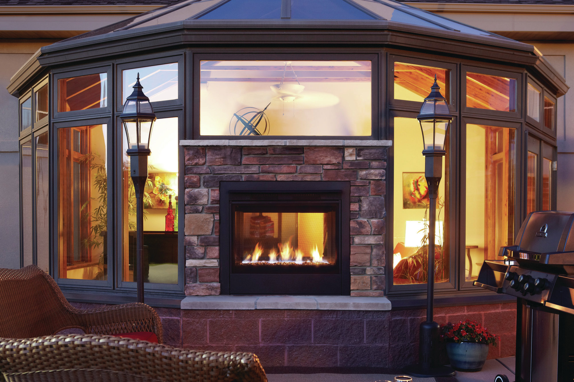 Double the Design Heat N Glo Twilight Modern TwoSided Gas Fireplace  Remodeling  Fireplaces