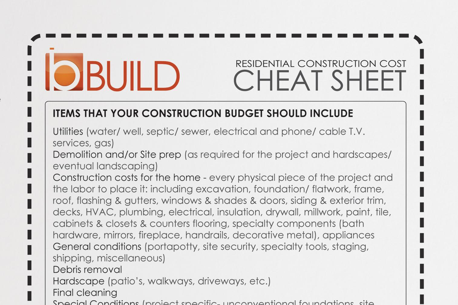 Get Real Construction Cost Cheat Sheet For Clients
