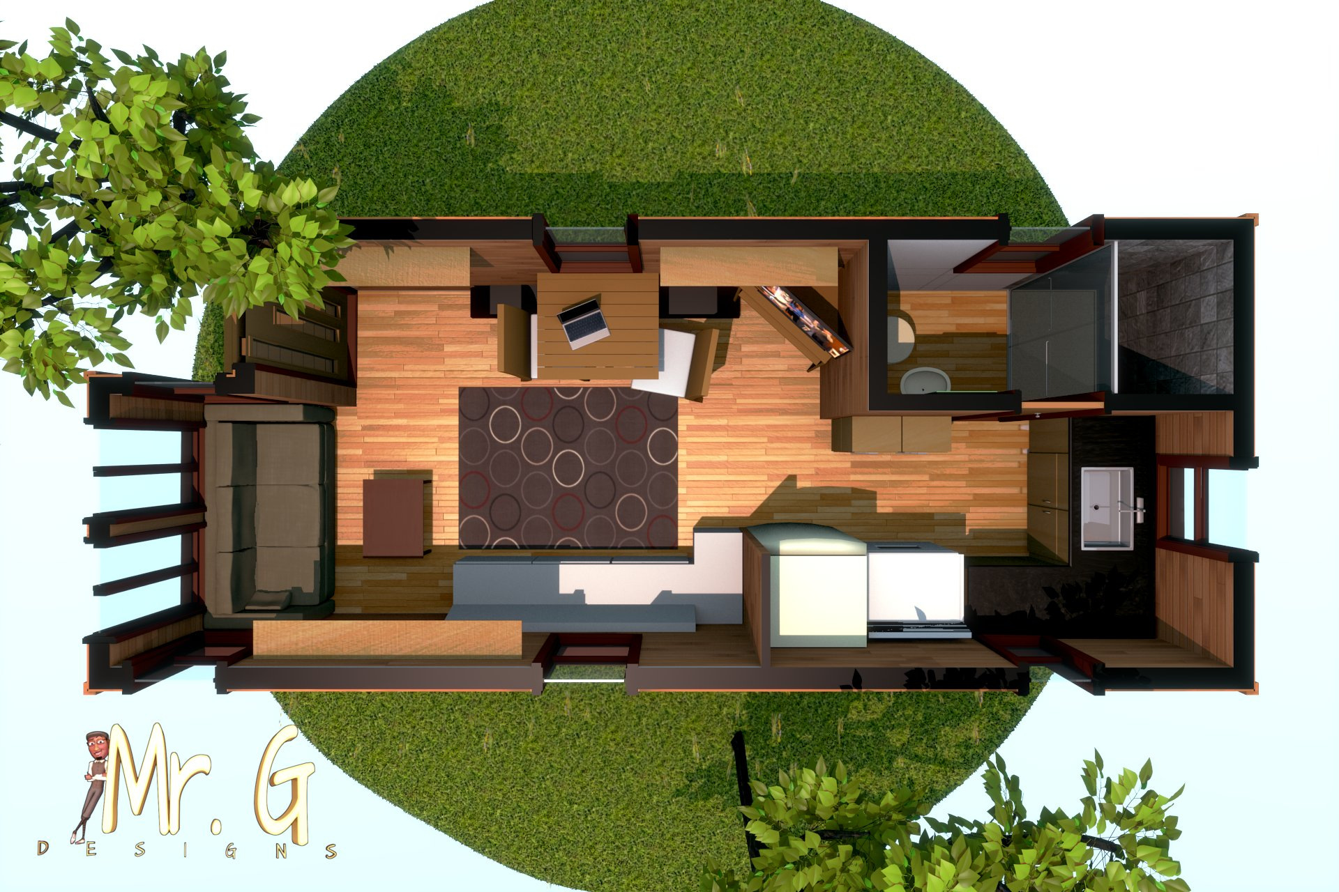 Artstation Tiny House 3d Floor Plan Model Garrett S