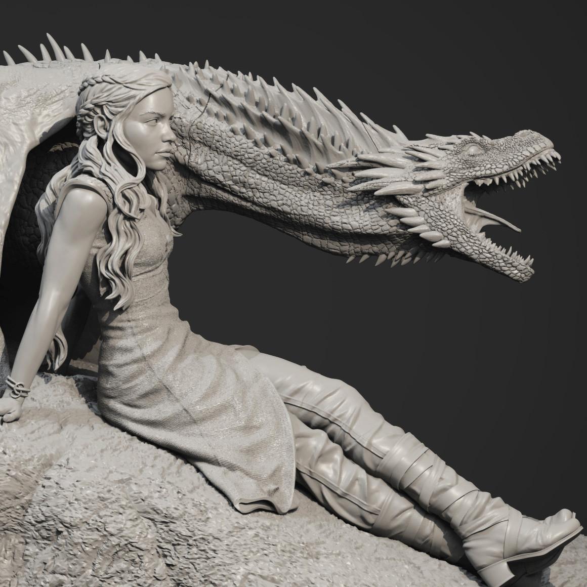 Artstation - Daenerys Targaryen Drogon Game Of Thrones Statue Edward Mosqueda