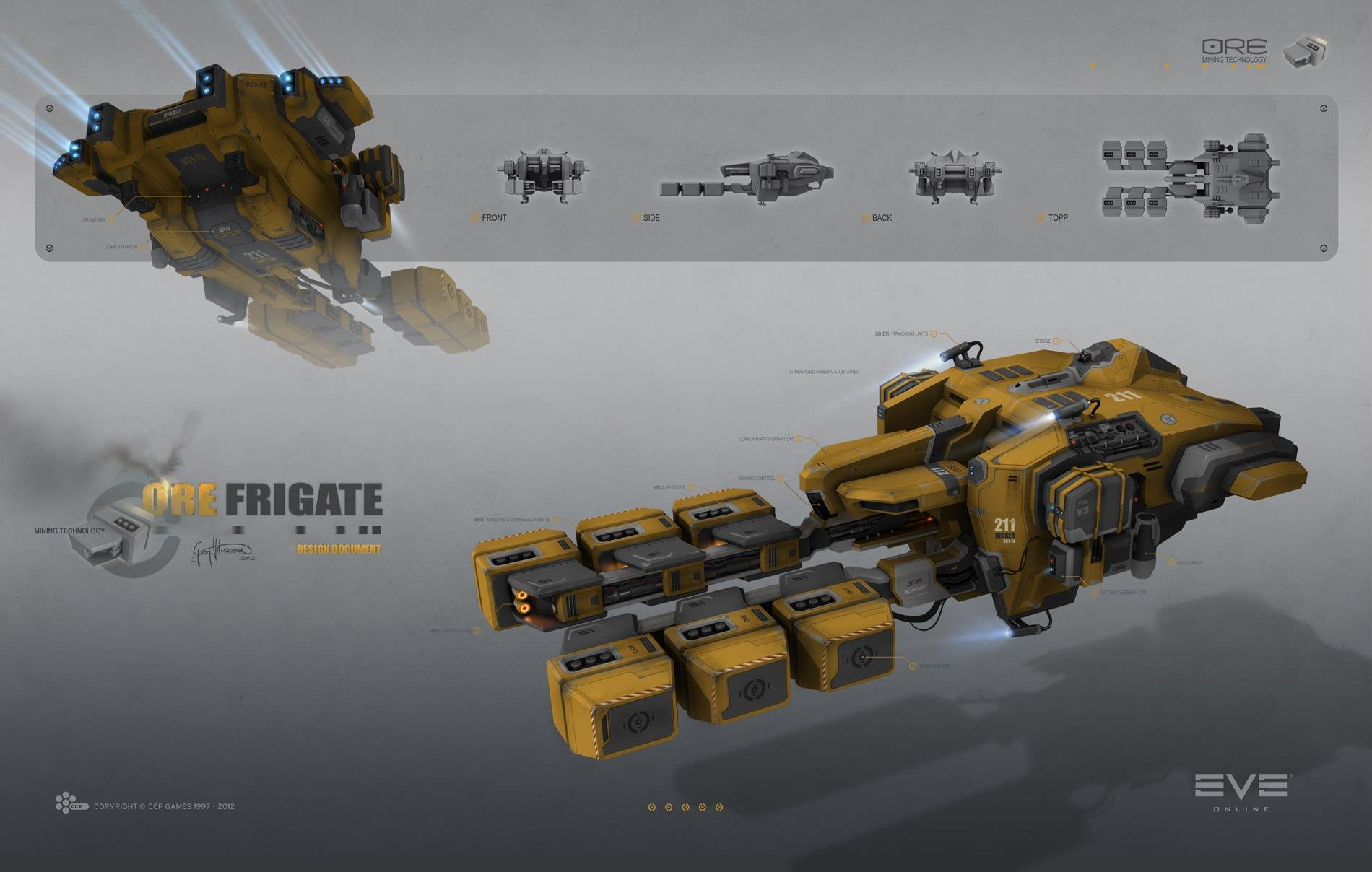 hight resolution of mining frigate venture concept for eve online
