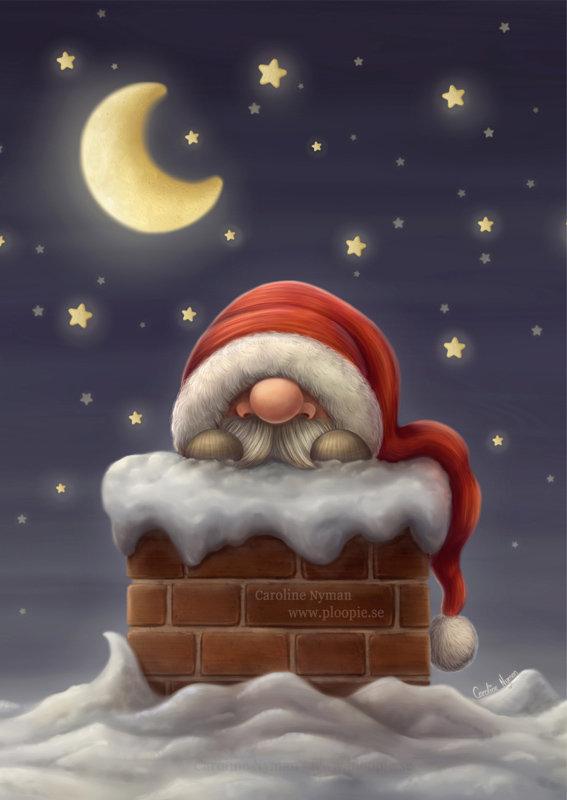 ArtStation Little Santa In Chimney Caroline Nyman