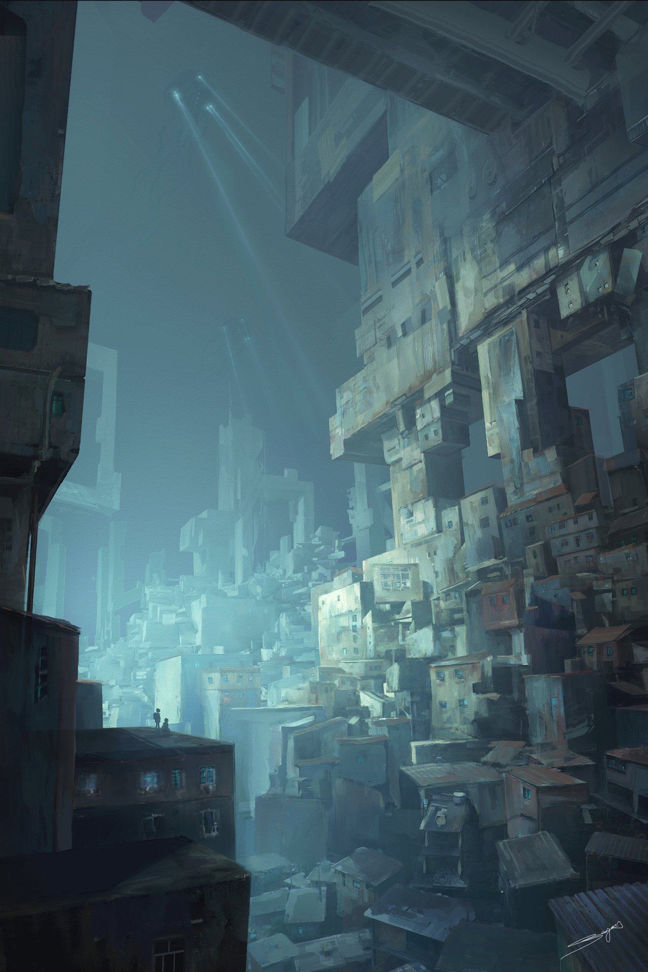 Artstation Futuristic Slums Jean Guilhem Bargu 232 S