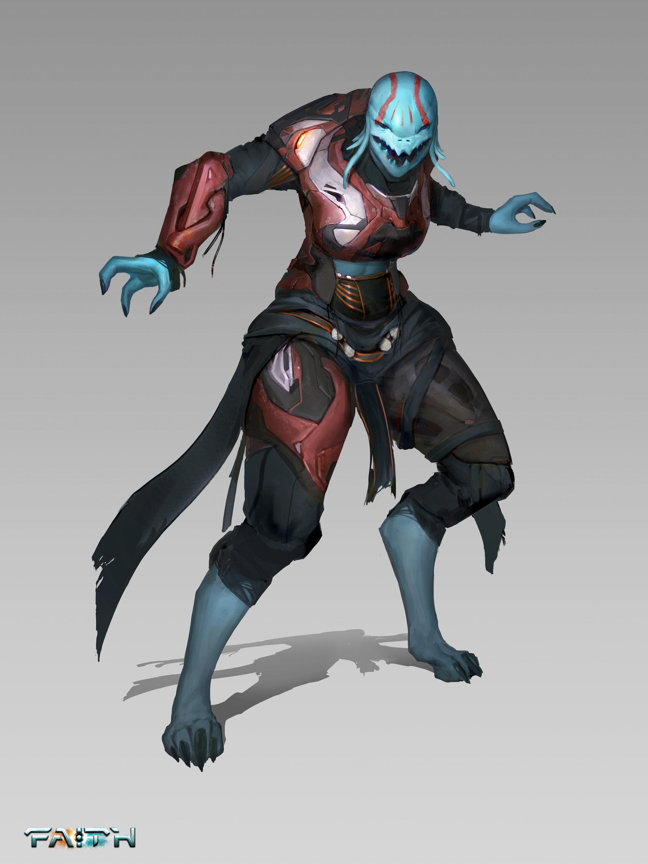 Alien Sci-Fi Female Warrior Concept Art
