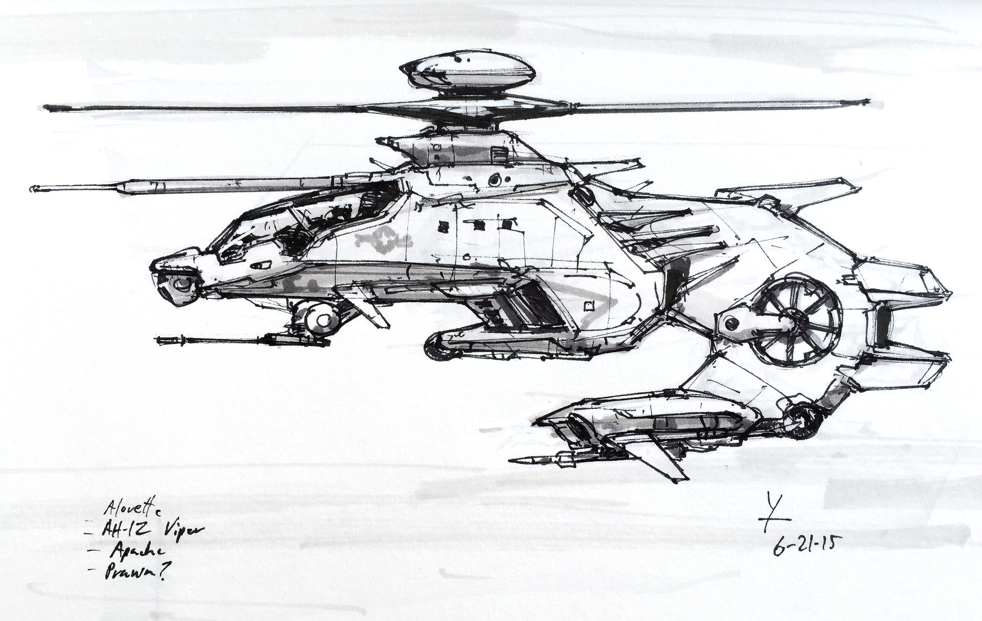hight resolution of attack helicopter sketch