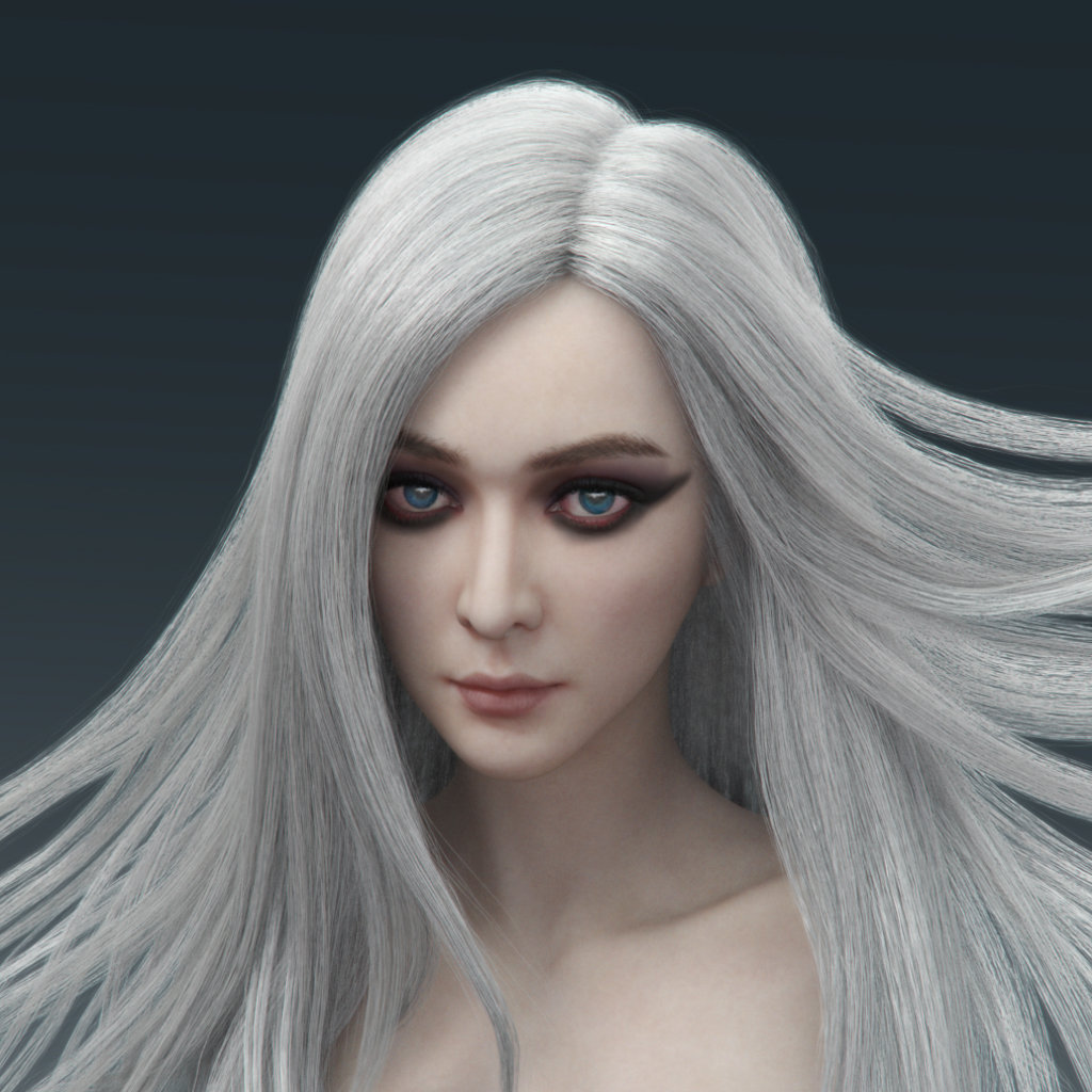 Drawing of Girl with White Hair