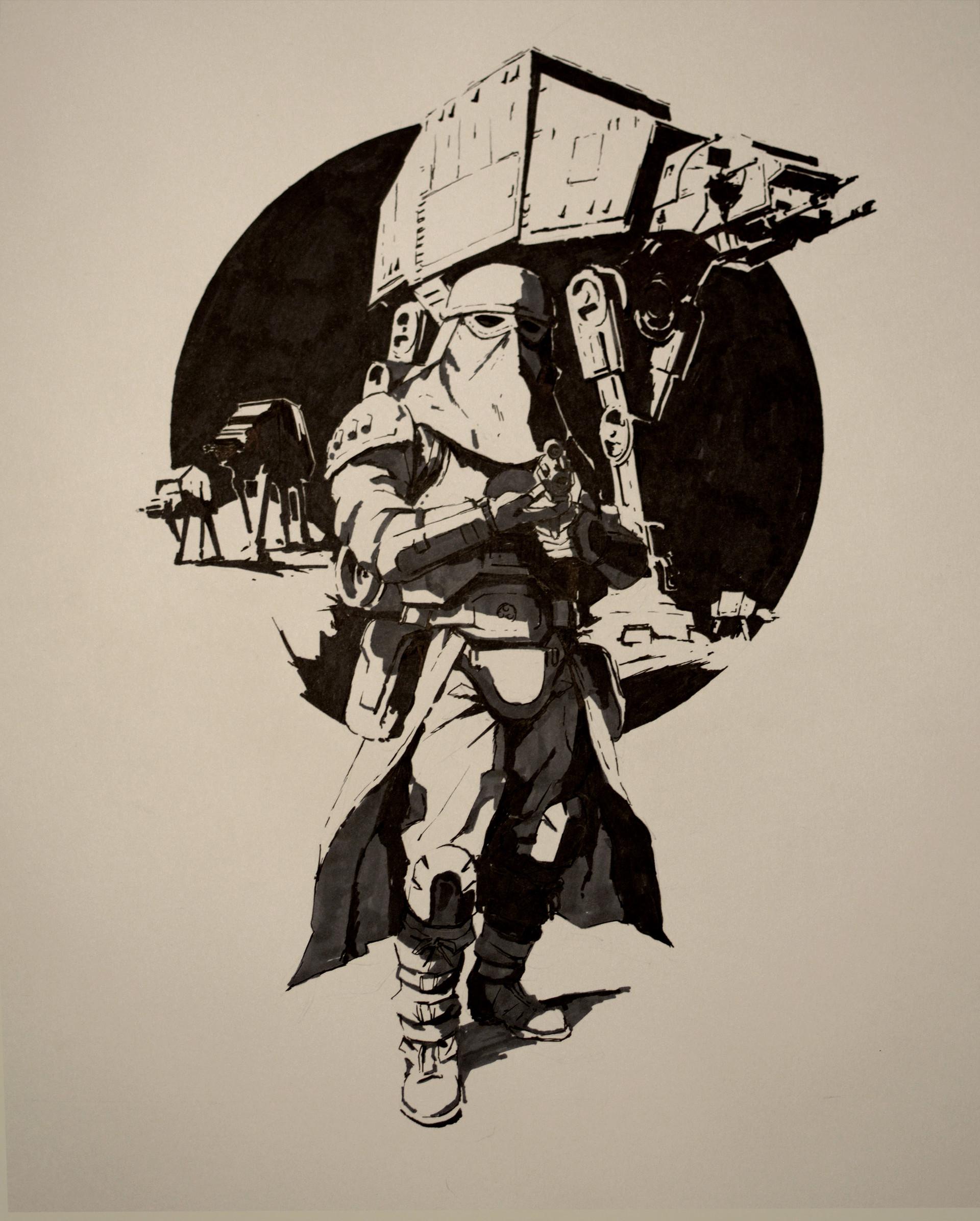 Artstation - Snowtrooper Ink Paper Guillaume Menuel